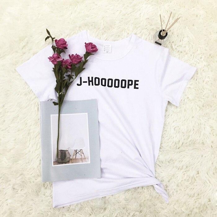 2018 Cotton T-shirt BTS J-HOOOOOPE TShirt Unisex Womens Mens Fashion Tee Short Sleeve Tumblr Tops Casual letter print clothing