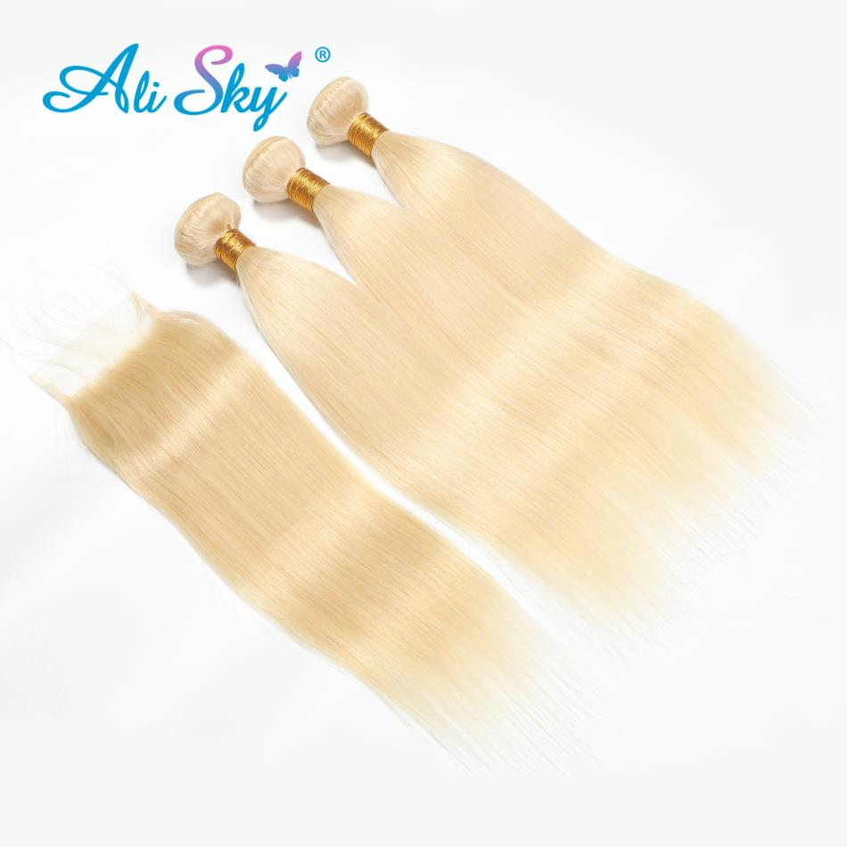 Ali Sky Hair 613 Blonde Bundles Brazilian Hair Straight Human Hair Weaves 10 24inch Blonde Remy Hair Extensions   Free Shipping-in 3/4 Bundles with Closure from Hair Extensions & Wigs    1