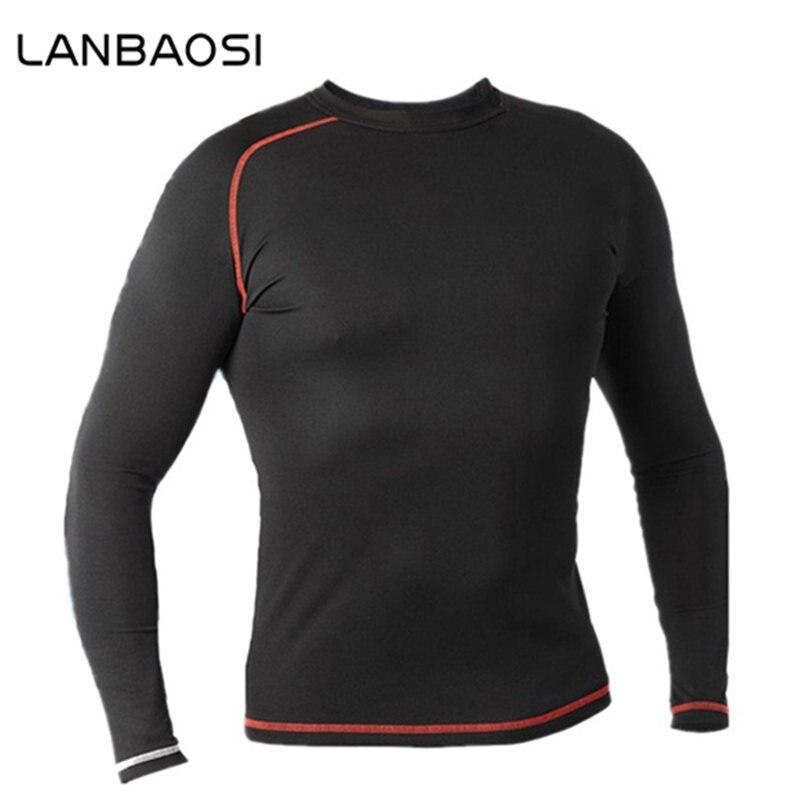 Prix pour LANBAOSI Vente Chaude Combat Hommes Collants À Manches Longues T Shirt De Compression Chemise Tops Fitness Course Sport T-shirts de Basket-Ball Jersey