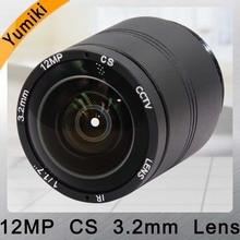 Yumiki 4 K объектив 12 мегапикселей фиксированный CS Объектив 12MP 3,2 мм 150 градусов 1/1. 7 дюймов для 4 K IP камера cctv камера