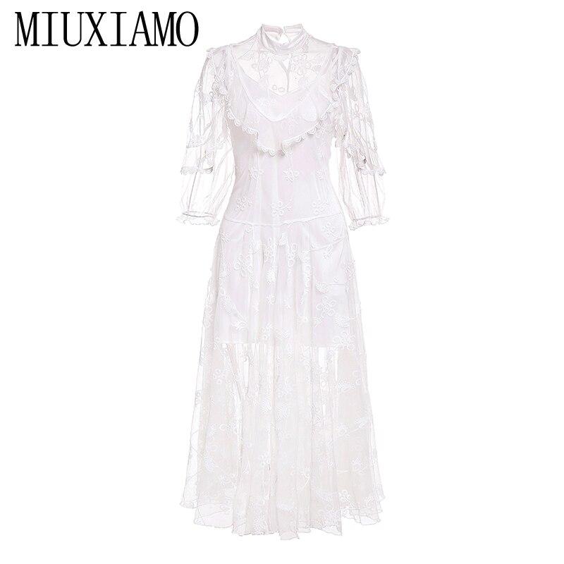 7015adf5124336 Eleghant Luxuriöse Spitze Frühling Blume Miuximao Rosa Vestido 2019  Sommeramp  Qualität Lässige Band Frauen Hohe Kleid vNnwOmPy80