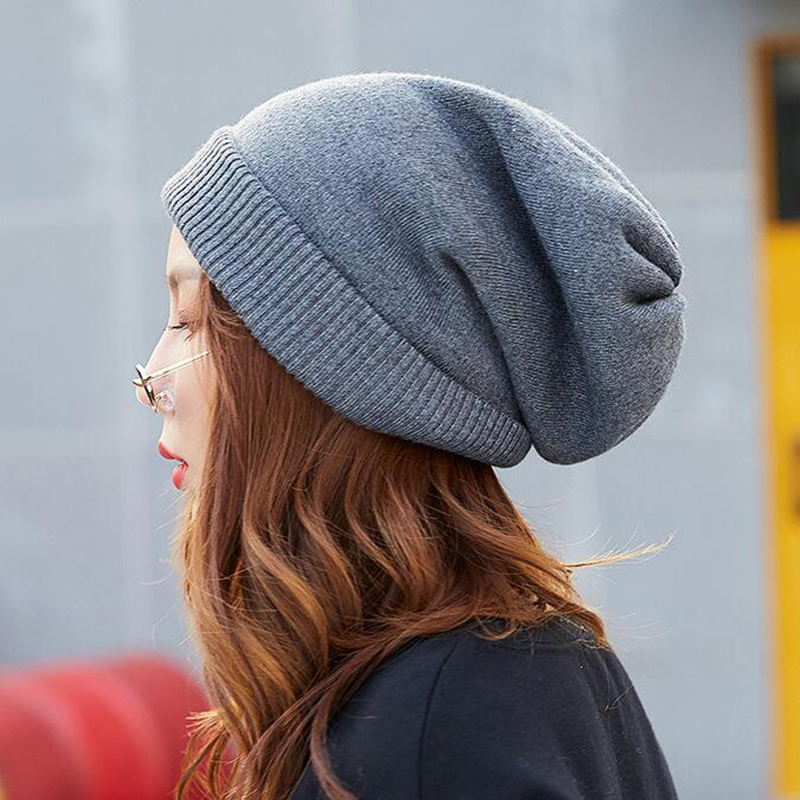 Women Wool Hat High Quality Slouch Baggy Winter   Beanies   Knitted Hat Ladies Solid Plain Cuffed Winter Hat   Skullies     Beanies