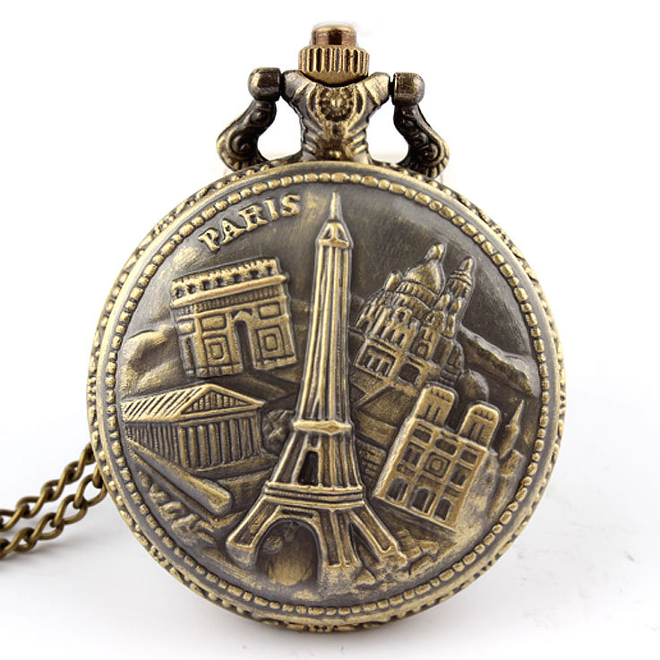 Antique Bronze Arc De Triomphe In Paris Eiffel Tower Pocket Watch Necklace Pendant For Men And Women P121
