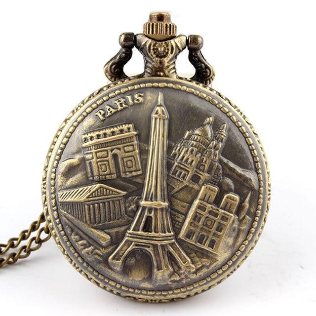 Antique Bronze Arc de Triomphe in Paris Eiffel Tower pocket watch necklace penda