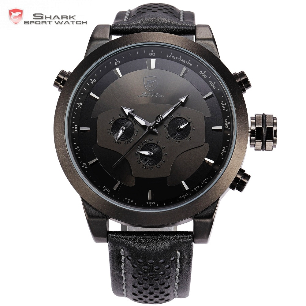 Requiem Shark Sport Watch 6 Hands Calendar Dual Time Zone Black Dashboard Leather Band 3ATM Waterproof Men Military Clock /SH210 shark sport watch black relogio 6 hands