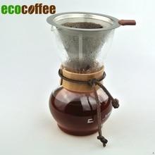 Freies Verschiffen Woodneck Kaffee Chemex Brewer 480CC 3-4cups Mit Edelstahl Kaffee Warenkorb