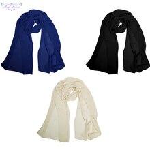 Angel châle à la mode en mousseline de soie, doux et léger, tige de foulard, bleu noir, ivoire