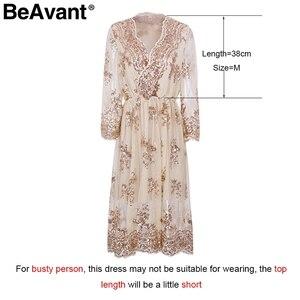 Image 5 - BeAvant 2018 new gold sequin embroidery summer dress Women deep v neck mesh sexy dress Elegant party dress vestido de festa