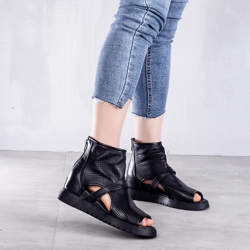 Artdiya 夏新ローマのサンダルバックジッパーピープトウ中空本革の女性のサンダル牛革ハンドメイドの靴ウェッジヒール  グループ上の 靴 からの ミドルヒール の中 2