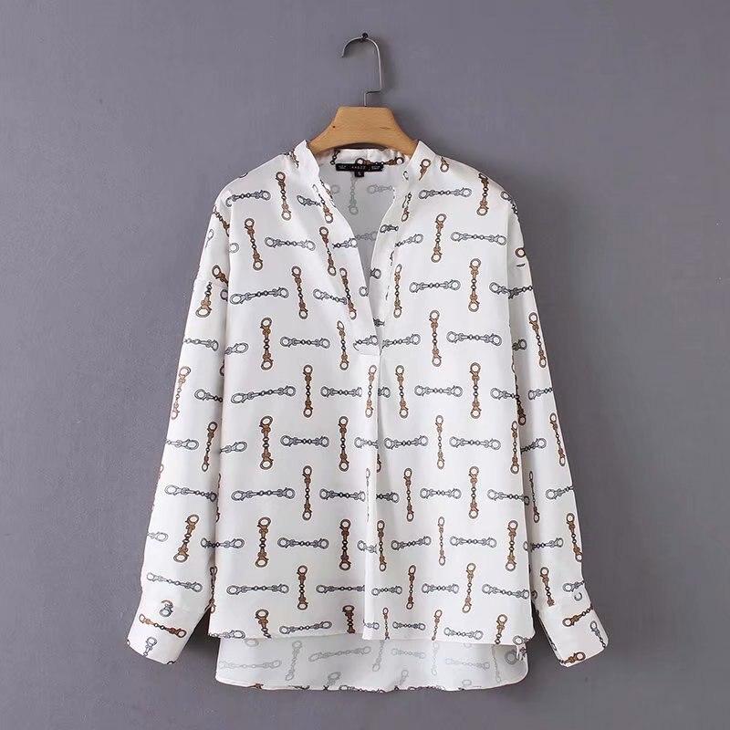 women vintage v neck chains print casual smock blouse shirts women chic femininas kimono blusas elegant business tops LS2844 blouse