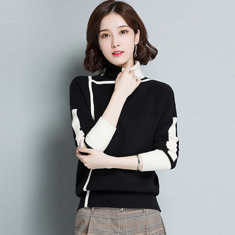 Women's Turtleneck Cashmere Pullover Sweater Spring Winter Women Patchwork Thick Bottoming Shirt Casual Knit Sweater RE0240 pullover knit boy sweaters two bottoming shirts long sleeved turtleneck sweater casual tur down collar for children s060