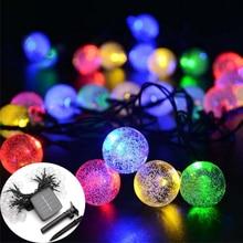 Waterproof 50LED strip Crystal ball LED Solar lawn Lamp Fairy Solar Battery String Lights For Outdoor Garden Christmas Decor hot