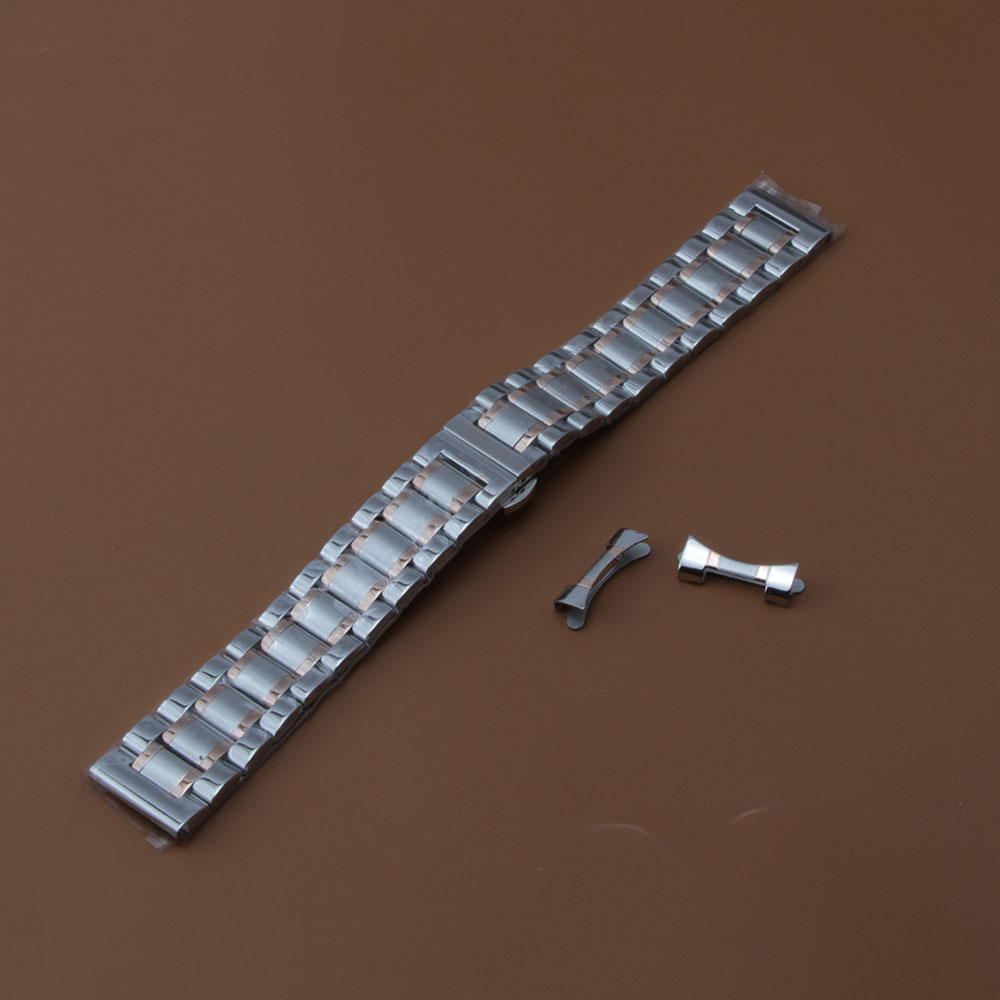 Silver mixed Rose gold Watchband Stainless steel solid link free curved end promotion watch strap14 15 16 17 18 19 20 21 22 23mm 20mm 23mm curved end watchbands rubber wrap rose gold stainless steel watch strap solid link bracelet for ar5890 5905 5919 5858