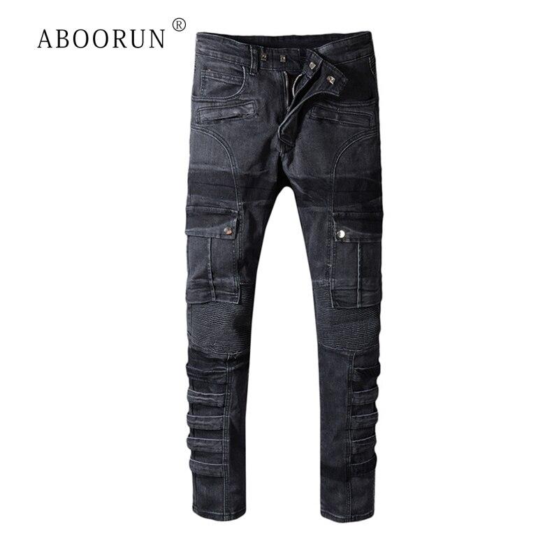 ABOORUN Hi Street Men's Black Biker Jeans Motorcycle Cargo Jeans Multi Pockets Brand Denim Pants For Male R386