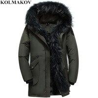 KOLMAKOV/Новые мужские пуховики на утином пуху, зимние куртки на гусином пуху, мужские толстые куртки с подкладкой из пуха, пальто, парки, меховы