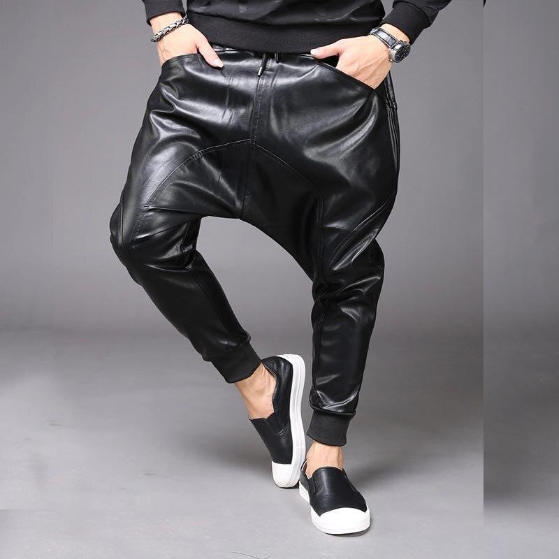 M 6XL nouvelle mode hommes Punk Moto PU Faux cuir décontracté Harem goutte entrejambe pantalon jean rue danse DJ Rock pantalons pantalon M 2XL - 3