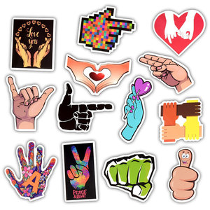 Image 3 - 50Pcs Ins Style Gestures Sticker Funny Finger Hand Sign Decals Waterproof Laptop Skin Sticker DIY on Luggage Car Phone Computer