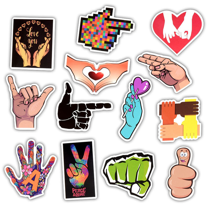 Image 3 - 50Pcs Love You Finger Gestures Sticker Decoration Waterproof Vinyl Laptop Skin Sticker For Moto Car&Suitcase Computer Stickers-in Laptop Skins from Computer & Office