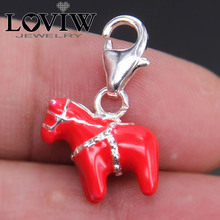 Купить с кэшбэком 3D Red Dala Horse Charm with clasp Sterling Silver Jewellery Fit Necklace Bracelets Bag thomas sabor Charm gift For Women girls