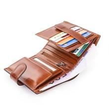 Cartera de piel auténtica con escote de ganado italiano para hombre, porta tarjetas, pasaporte, monederos, portafolio