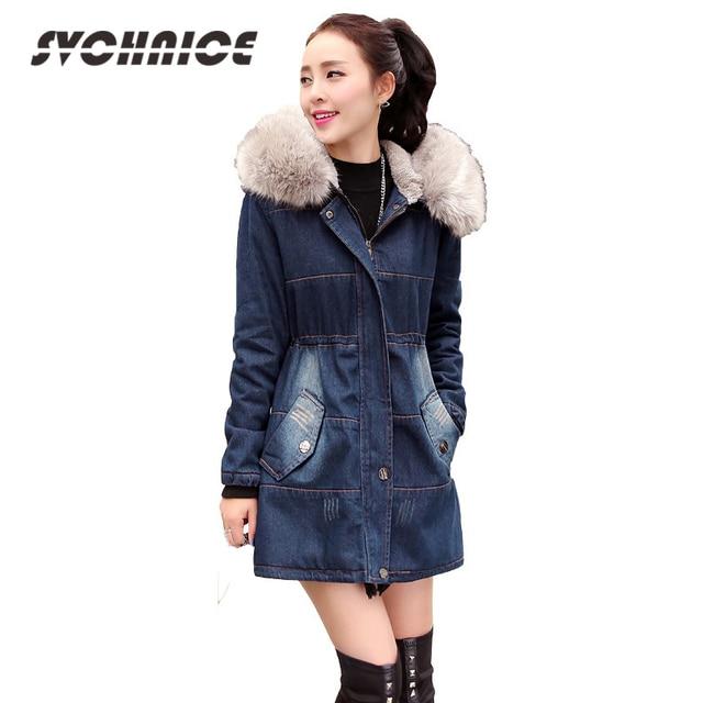 2017 nueva chaqueta de invierno de las mujeres con capucha chaqueta de  Denim con cuello de c8ef3c632509