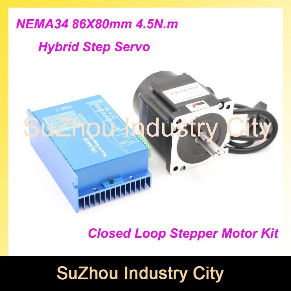 NEMA 34 Closed Loop Stepper Motor 4.5Nm 5A 642Oz-in Hybrid Stepping Motor Nema34 Close Loop Motor driver DC(40-110V)/AC(60-80V) yako stepper servo drive ssd2608h voltage dc30 110v ac20 80v modular hybrid closed loop stepper driver 3000r min