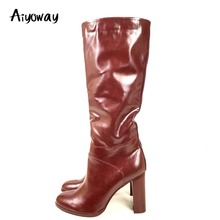 Aiyoway Women High Heel Knee High Boots Block Heel Winter Autumn Warm Boots Fashion Ladies Round Toe Wine Red Side Zip Size 5~17 gorgeous red velvet block heel boots women slim fit round toe chunky high heel ankle boots trendy side zip shoes hot selling
