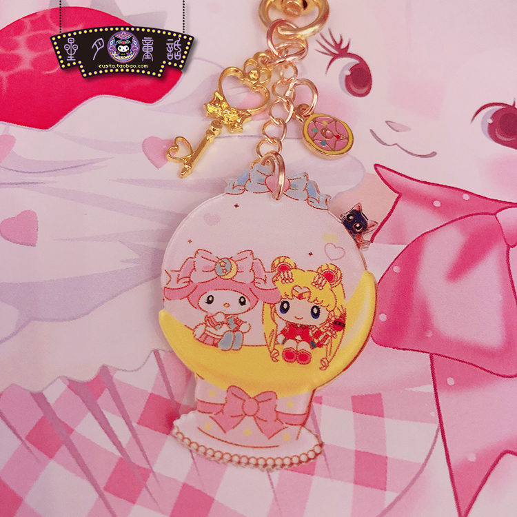1pc Cute SailorMoon My Melody Keychain Key Ring Bags Pendant For Girls Gifts