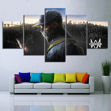 5 Piece Marcus Holloway Watch Dogs 2 Shooting Game Poster Artwork Paintings Fantasy Wall Art Canvas for Home Decor