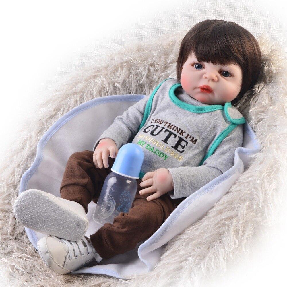 Adorable doll reborn 57CM Reborn babies Full body Silicone Bebes Reborn Boy Doll High simulation doll