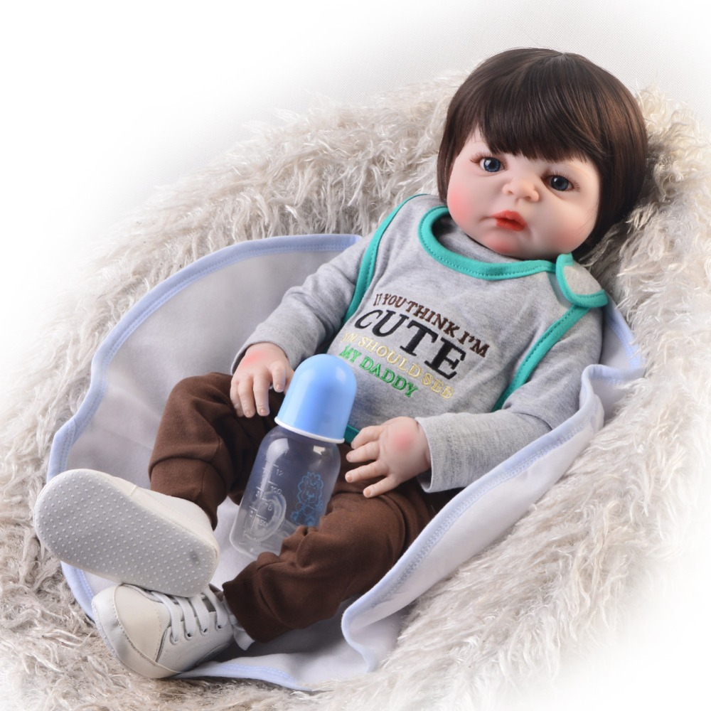 愛らしい人形リボーン 57 センチリボーン全身シリコーン Bebes リボーン少年人形人形リボーン bonecas  グループ上の おもちゃ & ホビー からの 人形 の中 1