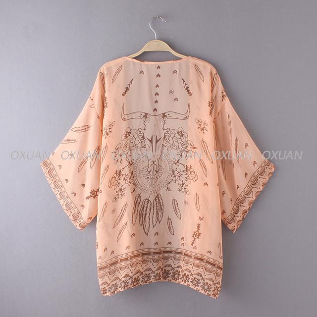 2017 Women Shirt Kimono Boho Cardigan Vintage Geometric Print Blouse Loose Shawl Cape Knits Bohemian Coat Jacket Two Color