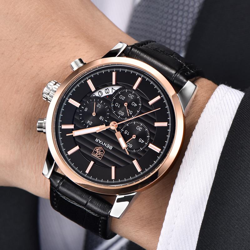 Prix pour Montres Hommes Bande de Cuir Imperméable Antichoc Quartz Montre-Bracelet Chronographe D'or Horloge Homme Mâle Relogio Masculino Ceasuri 45