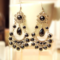 Exaggerated Classic Vinatge black Water Drop Earrings Female Long section of large earrings for women