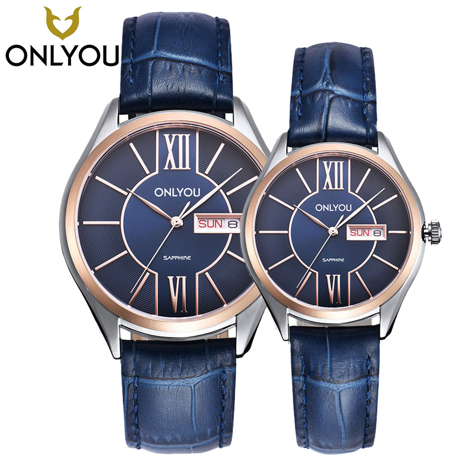 ONLYOU Lovers Watch Men Women Quartz Watches Fashion Design Real Leather Band Couple Dress Calendar Waterproof Analog Wristwatch