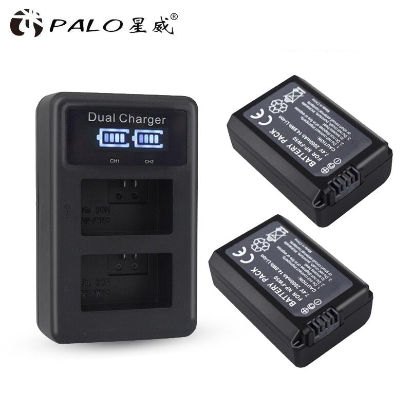 2Pcs 2000mAh NP-FW50 NP FW50 Camera Battery + USB LCD Dual Charger for Sony Alpha a6500 a6300 a7 7R a7R a7R II a7II NEX-3 NEX-3N