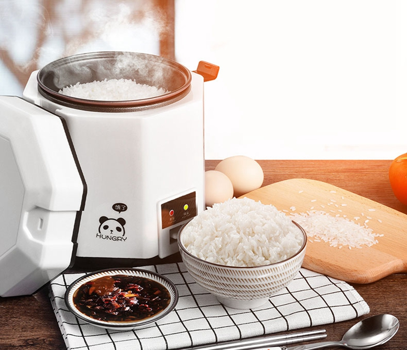 1.2L Mini Portable Rice Cooker 2 Layer Auto Multifunction Cooking Pot Heating Lunch Box Soup Porridge Steamer Food Container dmwd 3 layers electric insulation heating lunch box pluggable steamer electrical rice cooker stainless steel food container eu