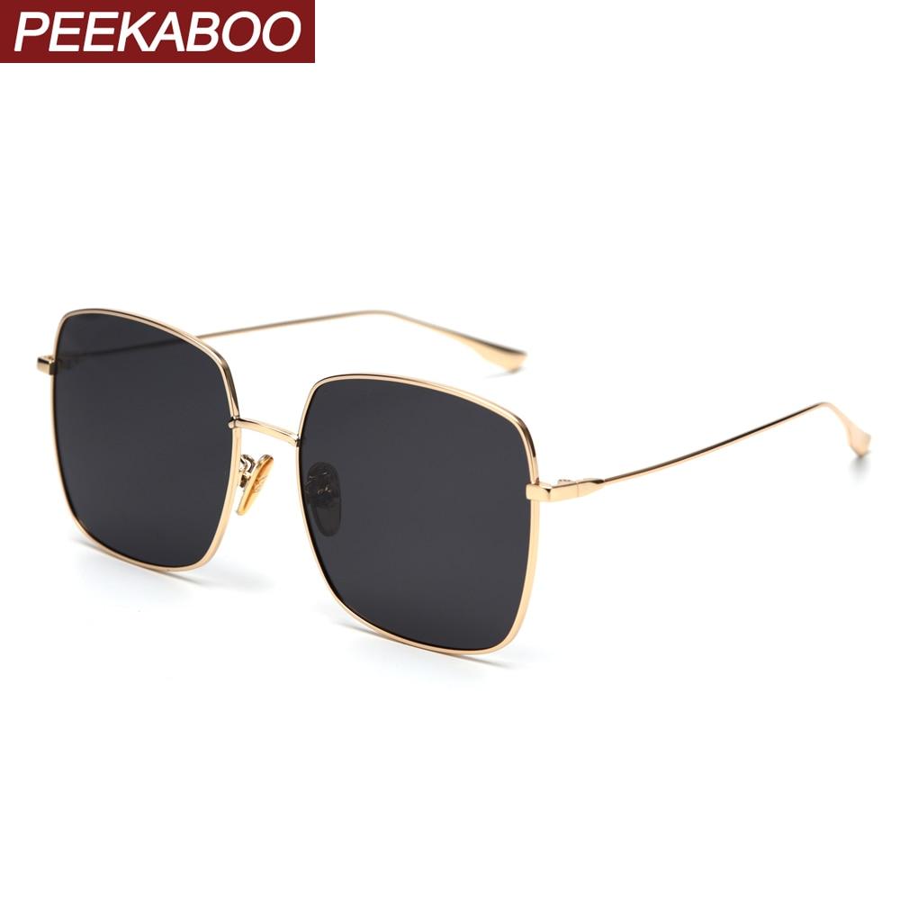 Peekaboo Silver Mirror Sunglasses Men Polarized Metal Frame Big Sun Glasses For Women Square 2019 Summer Driving High Quality