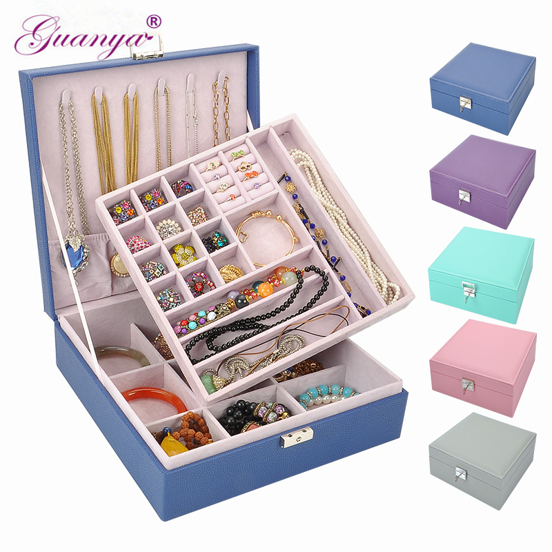 Guanya Women's Big Square Ring Earings Leather Jewelry Box Makeup Organizer Classic Style Double Layer High Quality Gift Case