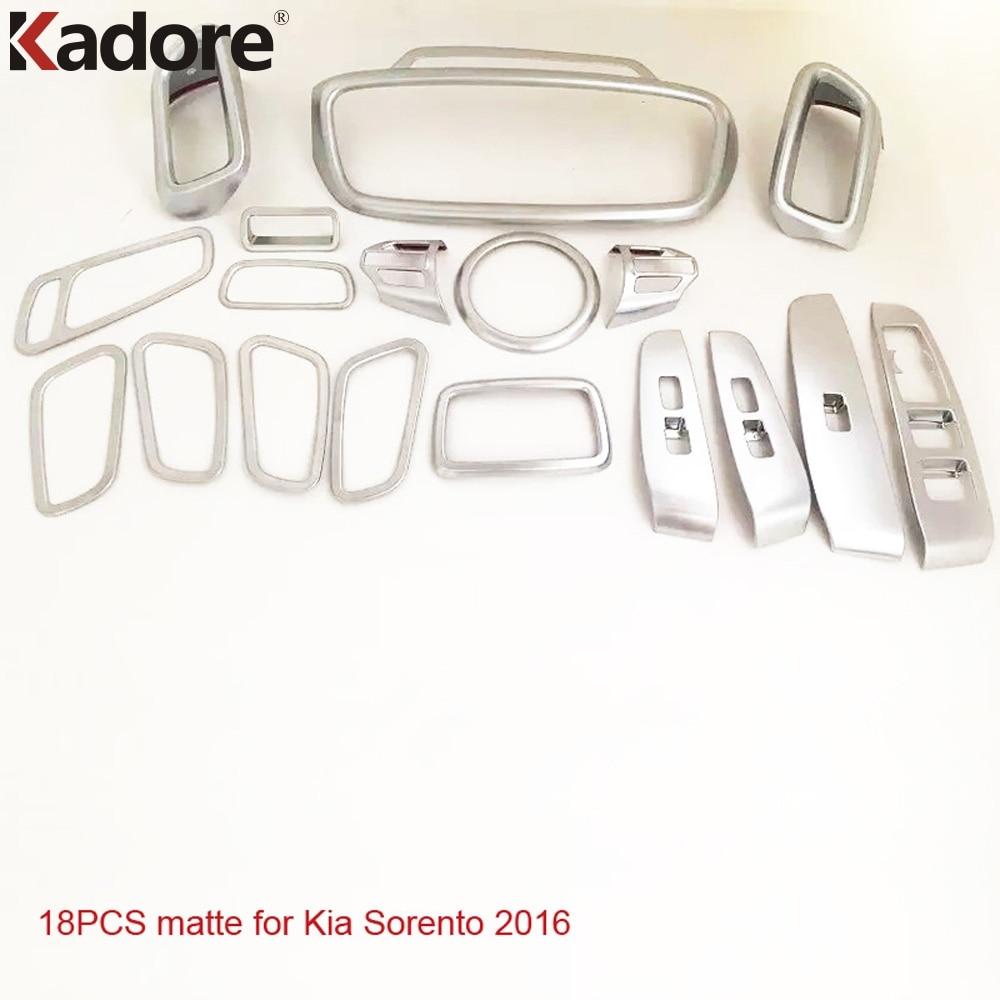For Kia Sorento 2016 2017 Matte Air Vent AC Outlet Center Control Headlight Armrest Door Handle Car Inner Accessories 18pcs/set
