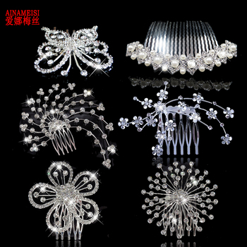 ¡Nuevo! Tiaras y coronas nupciales de AINAMEISI, accesorios para el cabello de boda para mujeres, peinetas elegantes para niñas, horquilla de cristal, regalo de joyería