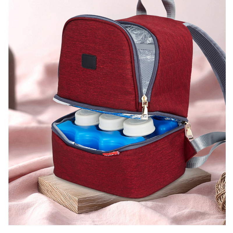 New double-layer multi-function Mummy bag Back milk bag Ice bag insulation lunch bag dry and wet separation preservation package image