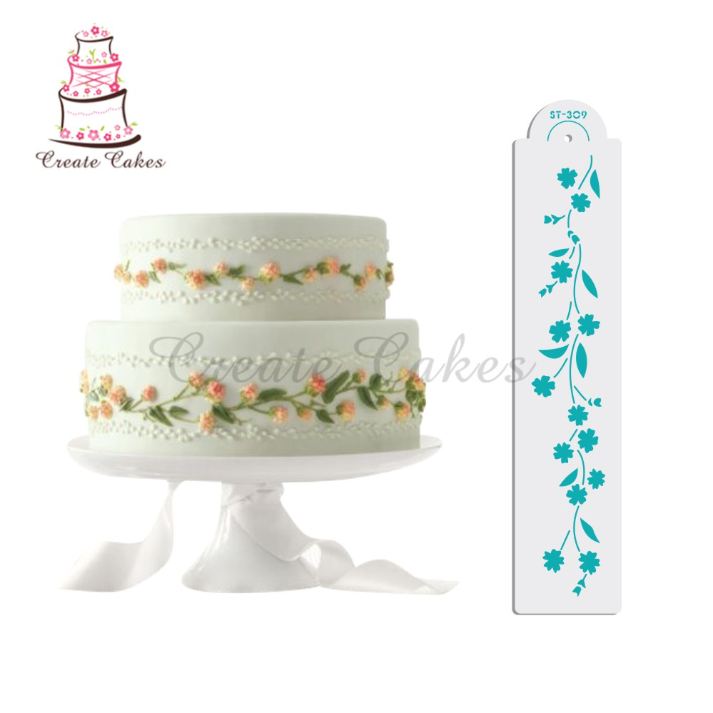 stenciled wedding cake design forget me not decorating stencil plastic cake stencil 20521