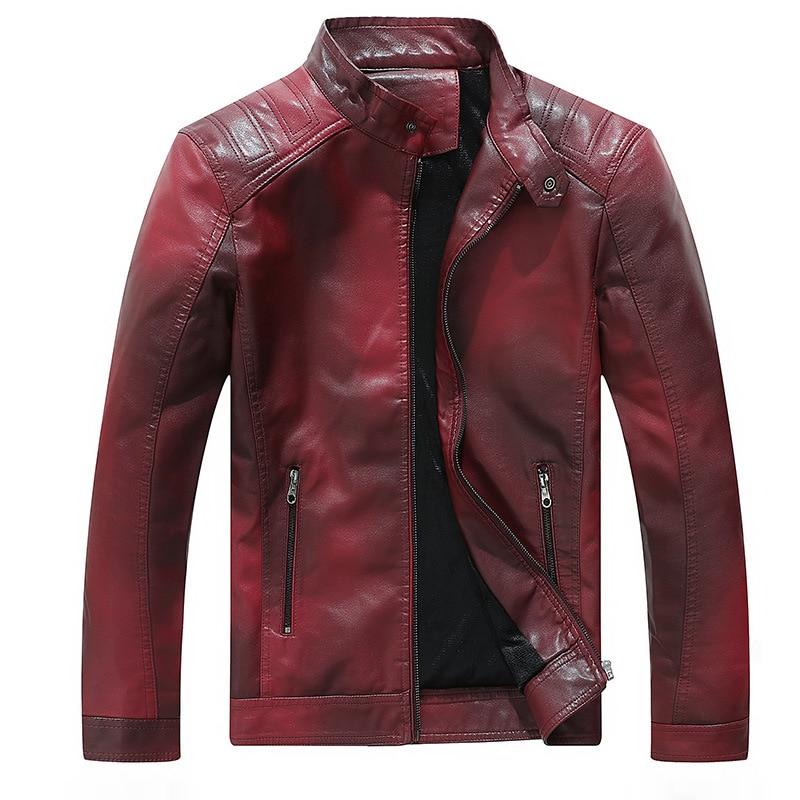 Populaire Gradient Hommes PU Vestes En Cuir Manteaux Automne Hiver Mâle Tops Outwear Veste en cuir Moto Chaqueta de cuero NOUVELLE