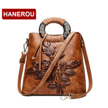 Women Leather Handbag Vintage Bucket Bags Embossing Printing Retro Designer Floral Handbag 2018 Luxury Tote Bag High quality(China)