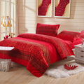 yiwuxuege 2017 new Korean version of Dream of charm pattern red Brushed bedding set 4PCS