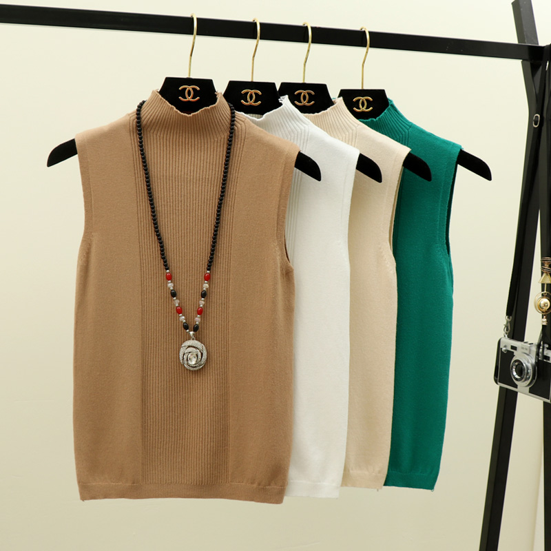 Summer Spring Female Girls Office Lady Knitted Thin Sleeveless Sweater Shirt Women Half High Collar Basic Vest Camis Tank Tops