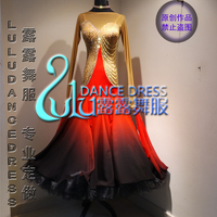 Dark Red Gradual Color Fabric Ballroom Dance Dress Moderne Waltz Standaard Concurrentie Strass Jurk Sociale Dance
