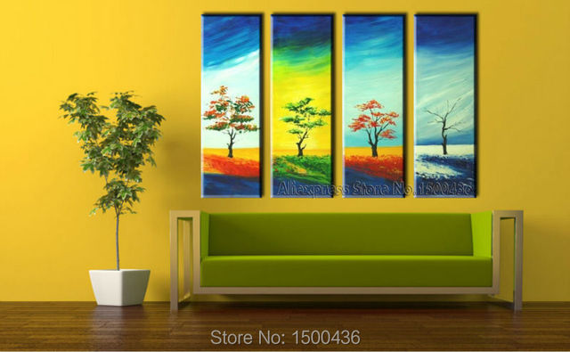Hand Painted 4 Season Tree Artwork Abstract Oil Painting 4 Piece ...