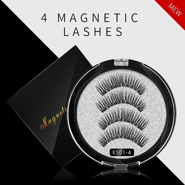 2 pair of 3D magnetic eyelashes handmade Mink eyelashes eye makeup extended false eyelashes repeated use magnetic fake eyelashes 4